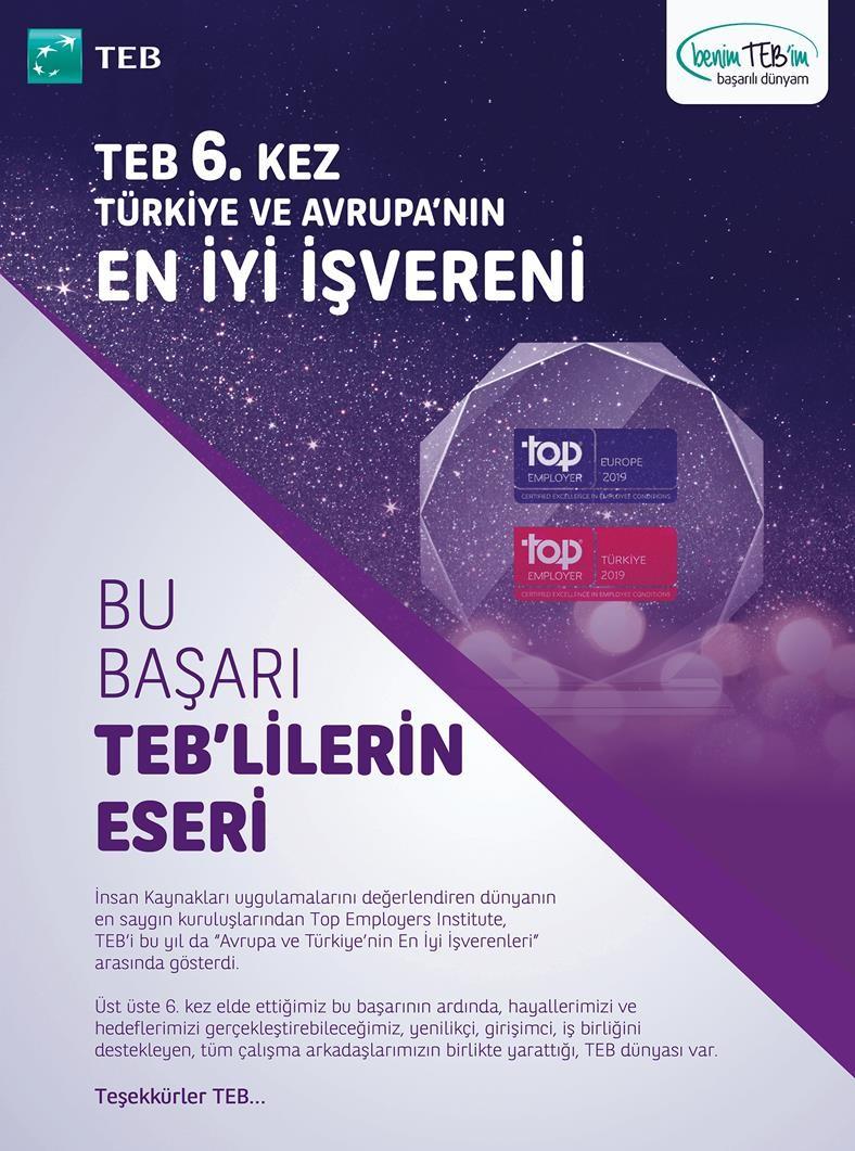 TEB 6. Kez Türkiye ve Avrupa'nın En İyi İşvereni Seçildi