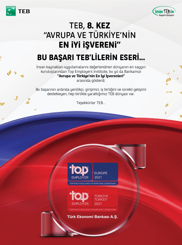 TEB 7. Kez Türkiye ve Avrupa'nın En İyi İşvereni Seçildi