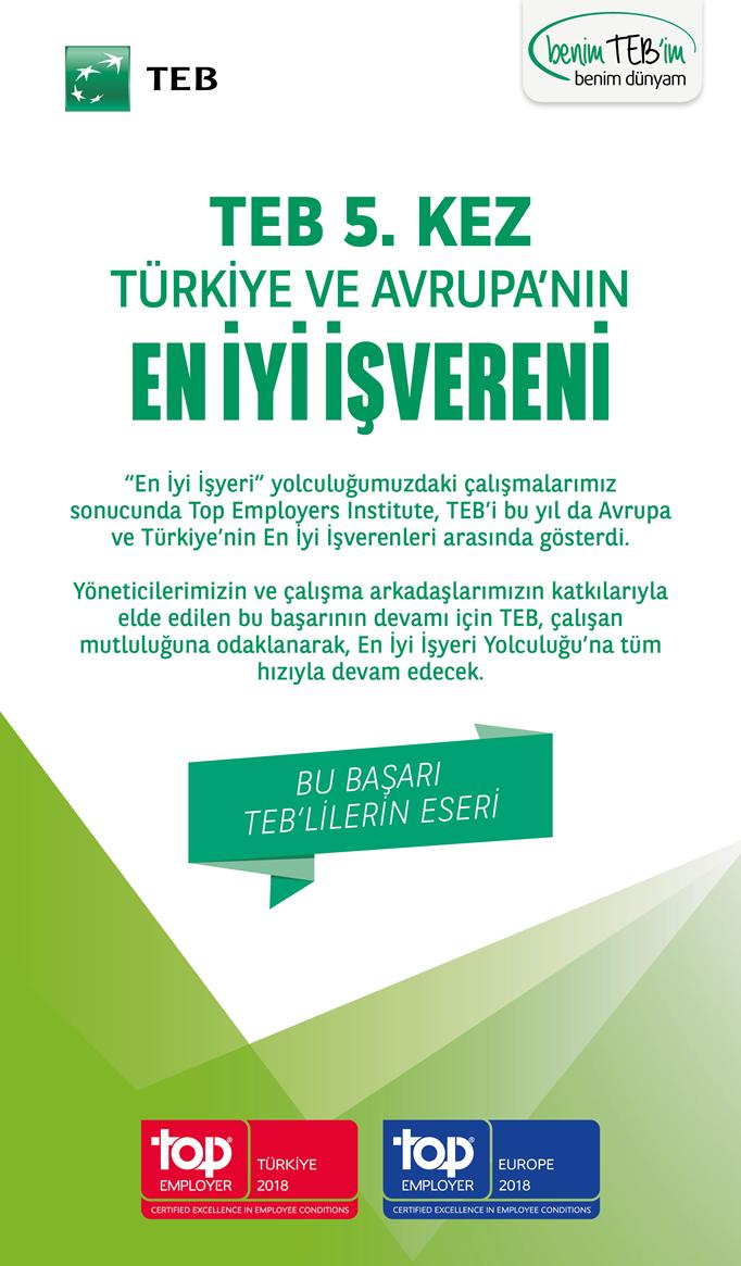 TEB 5. Kez Türkiye ve Avrupa'nın En İyi İşvereni Seçildi